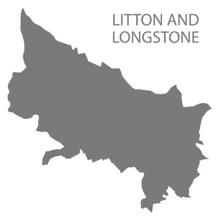 Litton and Longstone grey ward map of Derbyshire Dales district in East Midlands England UK