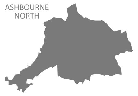 Ashbourne North grey ward map of Derbyshire Dales district in East Midlands England UK Çizim