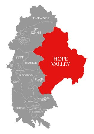 Hope Valley red highlighted in map of High Peak district in East Midlands England UK