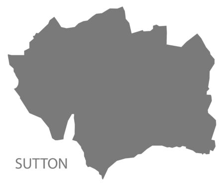 Sutton grey ward map of North East Derbyshire district in East Midlands England UK Çizim