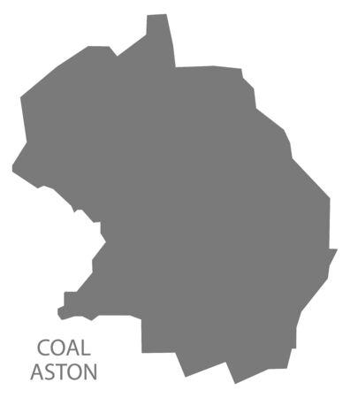 Coal Aston grey ward map of North East Derbyshire district in East Midlands England UK 免版税图像 - 129783195