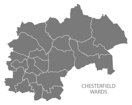 Wards map of Chesterfield district in East Midlands England UK gray