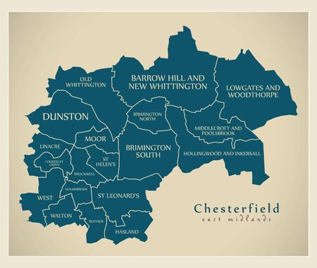 Wards map of Chesterfield district in East Midlands England UK with labels