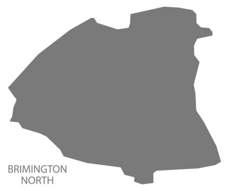 Brimington North grey ward map of Chesterfield district in East Midlands England UK