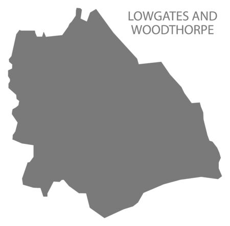Lowgates and Woodthorpe grey ward map of Chesterfield district in East Midlands England UK