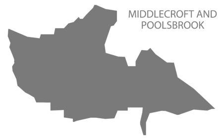 Middlecroft and Poolsbrook grey ward map of Chesterfield district in East Midlands England UK Ilustração