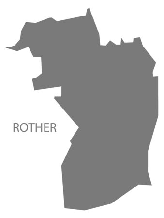 Rother grey ward map of Chesterfield district in East Midlands England UK