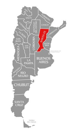 Santa Fe red highlighted in map of Argentina Banco de Imagens