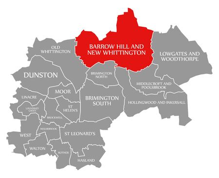 Barrow Hill and New Whittington red highlighted in map of Chesterfield district in East Midlands England UK
