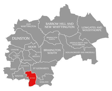 Rother red highlighted in map of Chesterfield district in East Midlands England UK