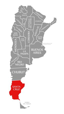 Santa Cruz red highlighted in map of Argentina