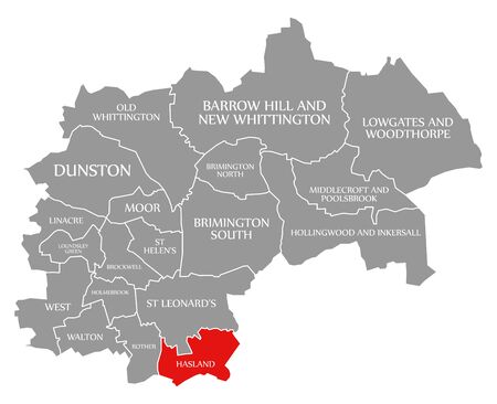 Hasland red highlighted in map of Chesterfield district in East Midlands England UK Banco de Imagens