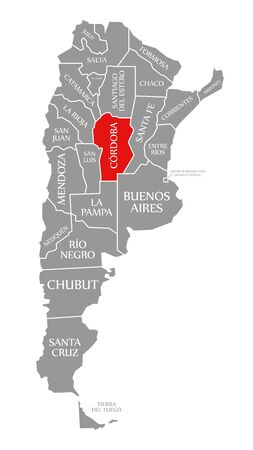 Cordoba red highlighted in map of Argentina