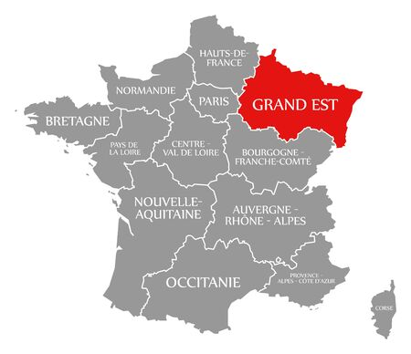 Grand Est red highlighted in map of France
