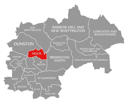 Moor red highlighted in map of Chesterfield district in East Midlands England UK Фото со стока