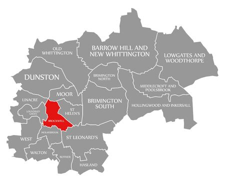 Brockwell red highlighted in map of Chesterfield district in East Midlands England UK