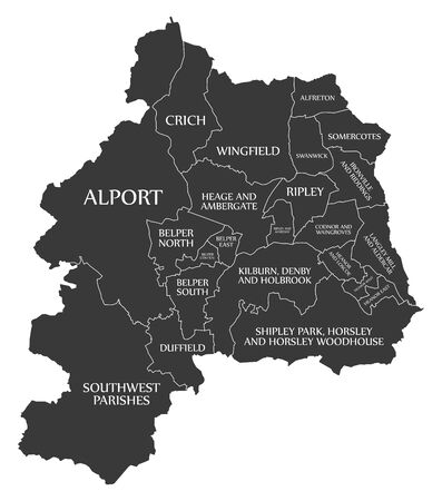 Black wards map of Amber Valley district in East Midlands England UK with labels