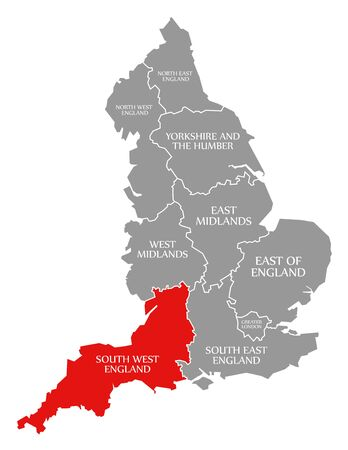 South West England red highlighted in map of England UK 版權商用圖片