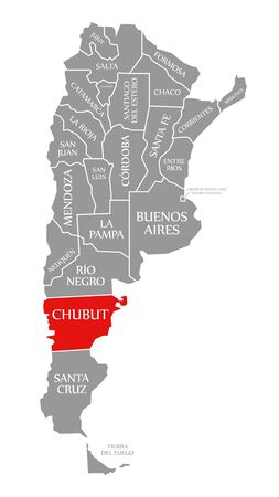 Chubut red highlighted in map of Argentina Banco de Imagens