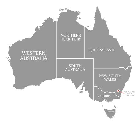 Australian Capital Territory red highlighted in map of Australia