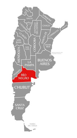 Rio Negro red highlighted in map of Argentina Reklamní fotografie