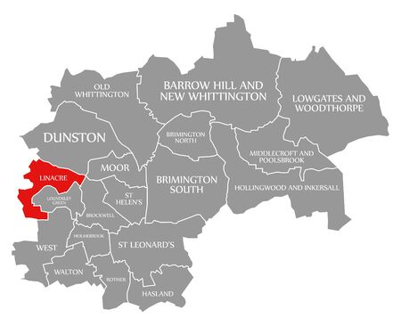 Linacre red highlighted in map of Chesterfield district in East Midlands England UK