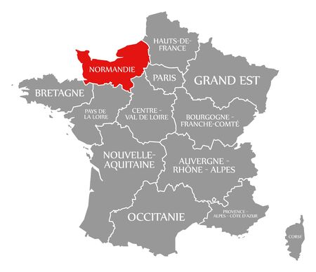 Normandie red highlighted in map of France Banco de Imagens