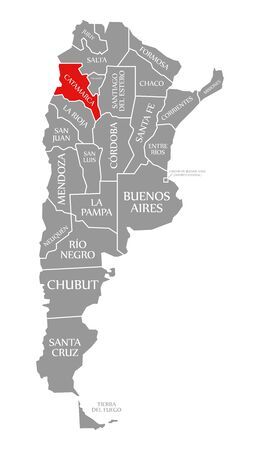Catamarca red highlighted in map of Argentina