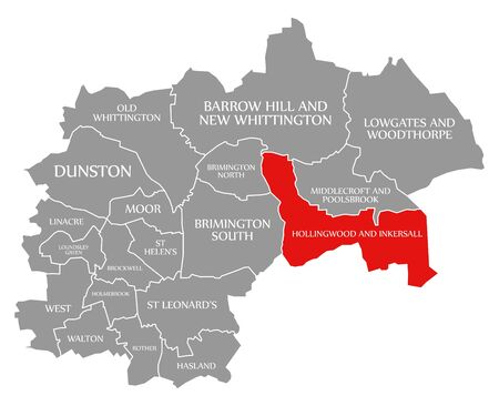 Hollingwood and Inkersall red highlighted in map of Chesterfield district in East Midlands England UK