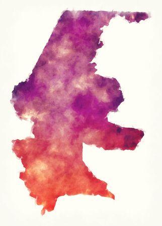 Quiche region watercolor map of Guatemala Stock Photo