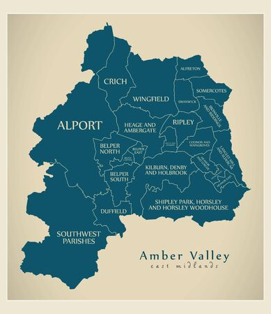 Wards map of Amber Valley district in East Midlands England UK with labels