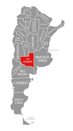 La Pampa red highlighted in map of Argentina