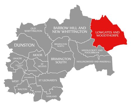 Lowgates and Woodthorpe red highlighted in map of Chesterfield district in East Midlands England UK