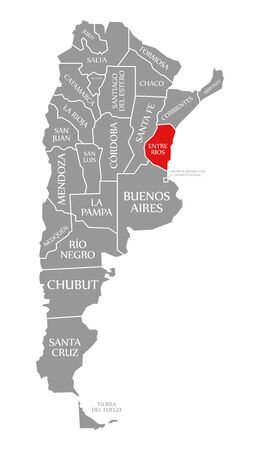 Entre Rios red highlighted in map of Argentina