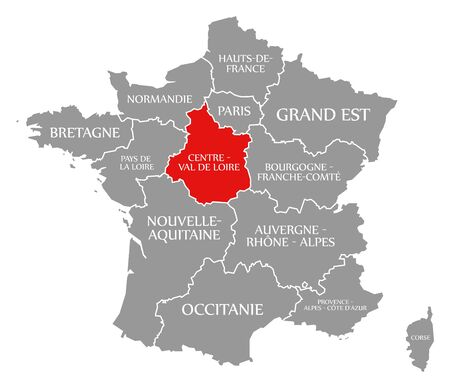 Centre - Val de Loire red highlighted in map of France