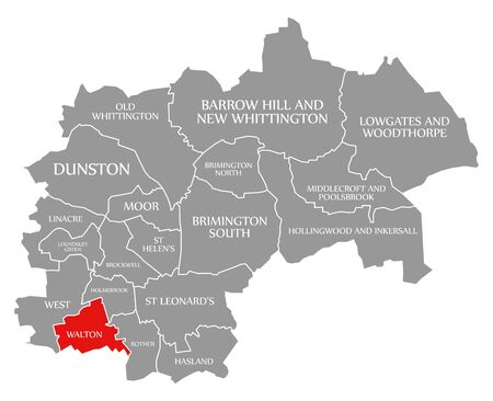 Walton red highlighted in map of Chesterfield district in East Midlands England UK Фото со стока