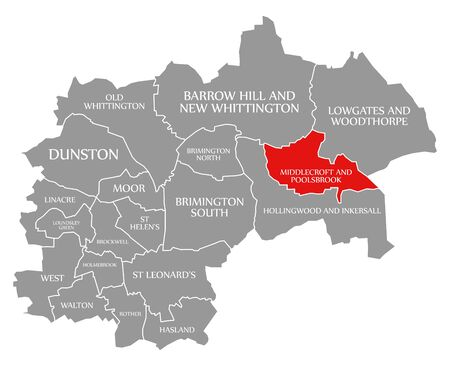 Middlecroft and Poolsbrook red highlighted in map of Chesterfield district in East Midlands England UK