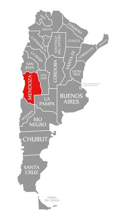 Mendoza red highlighted in map of Argentina
