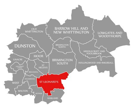 St Leonards red highlighted in map of Chesterfield district in East Midlands England UK