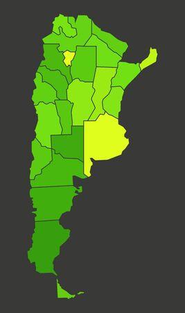 Argentina population heat map as color density illustration