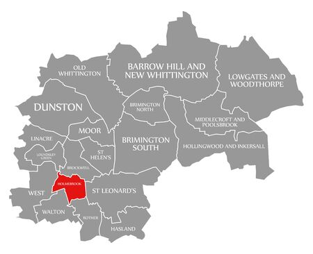 Holmebrook red highlighted in map of Chesterfield district in East Midlands England UK