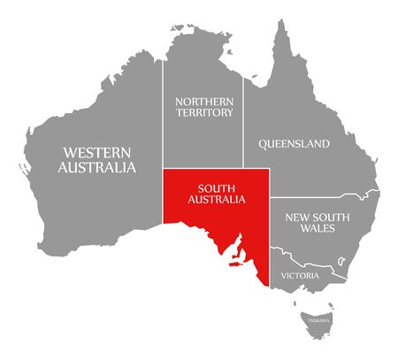 South Australia red highlighted in map of Australia Фото со стока
