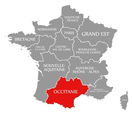 Occitanie red highlighted in map of France Фото со стока