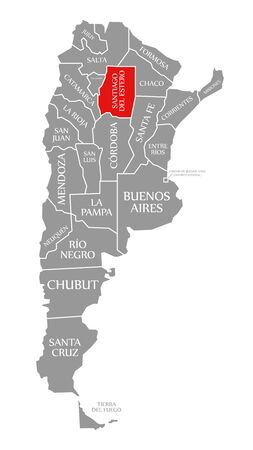 Santiago del Estero red highlighted in map of Argentina
