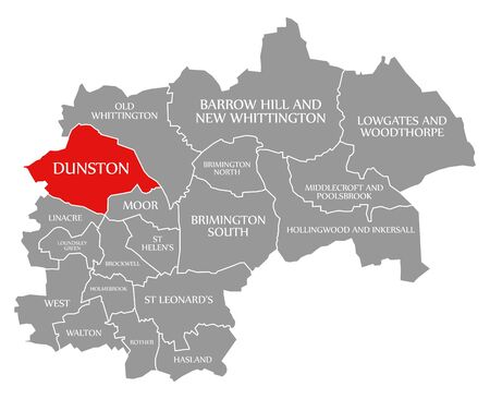 Dunston red highlighted in map of Chesterfield district in East Midlands England UK