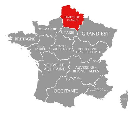 Hauts de France red highlighted in map of France