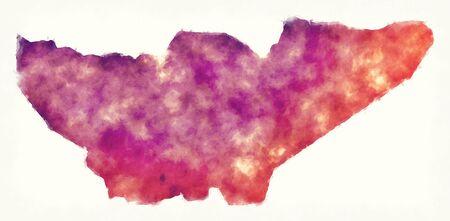 Baja Verapaz region watercolor map of Guatemala