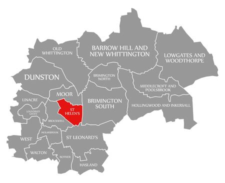 St Helens red highlighted in map of Chesterfield district in East Midlands England UK
