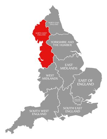North West England red highlighted in map of England UK