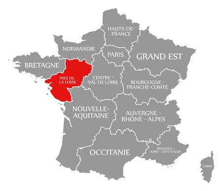 Pays de la Loire red highlighted in map of France